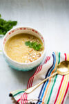 Five ingredients creamy potato and cilantro vegan soup.