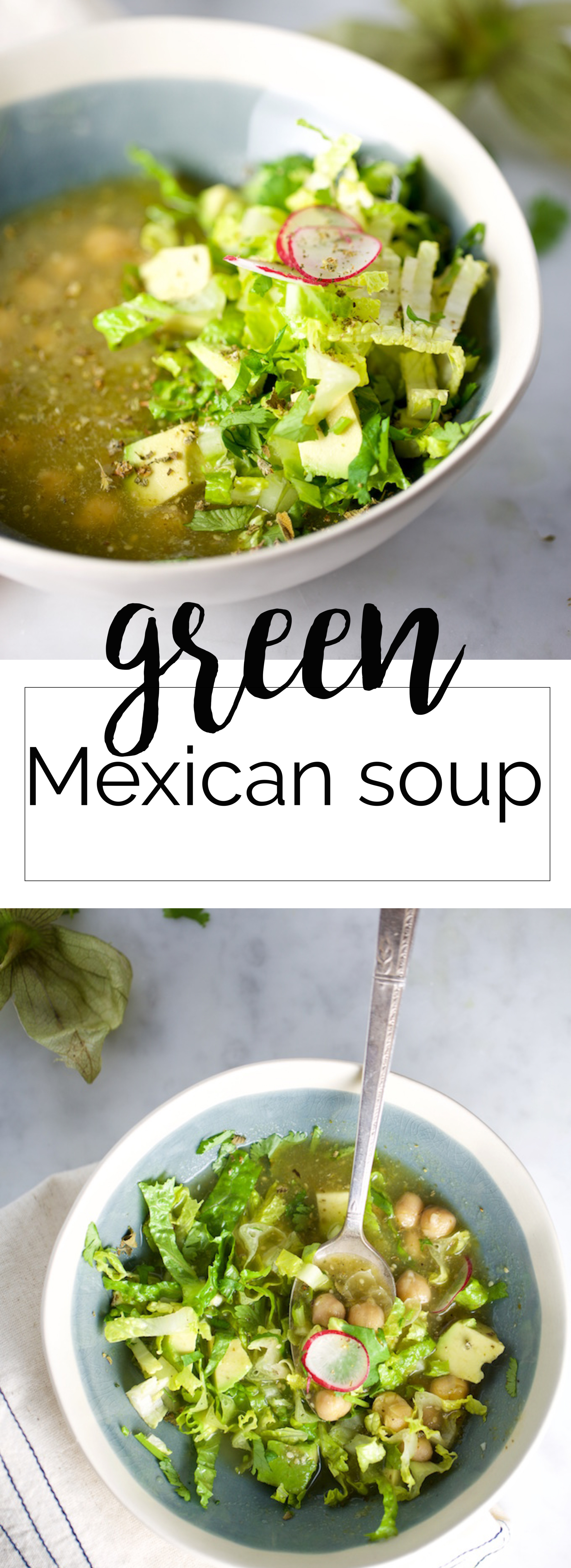 Green Mexican Soup with chickpeas, a great combination between green posole and salsa verde. It is easy, delicious and super fun to eat. This recipe is healthy, authentic Mexican food and vegan.