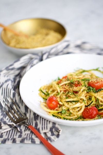 Zucchini noodles with cherry tomatoes