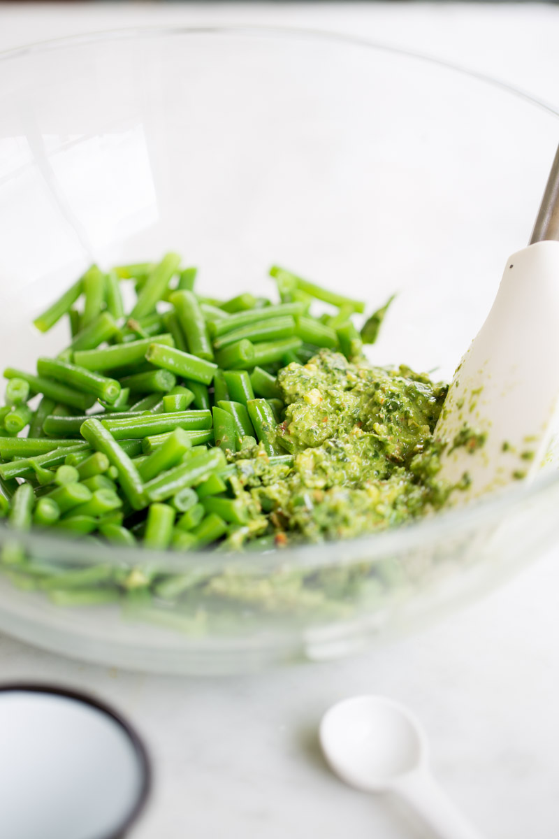 green beans and spicy almond pesto for potato salad