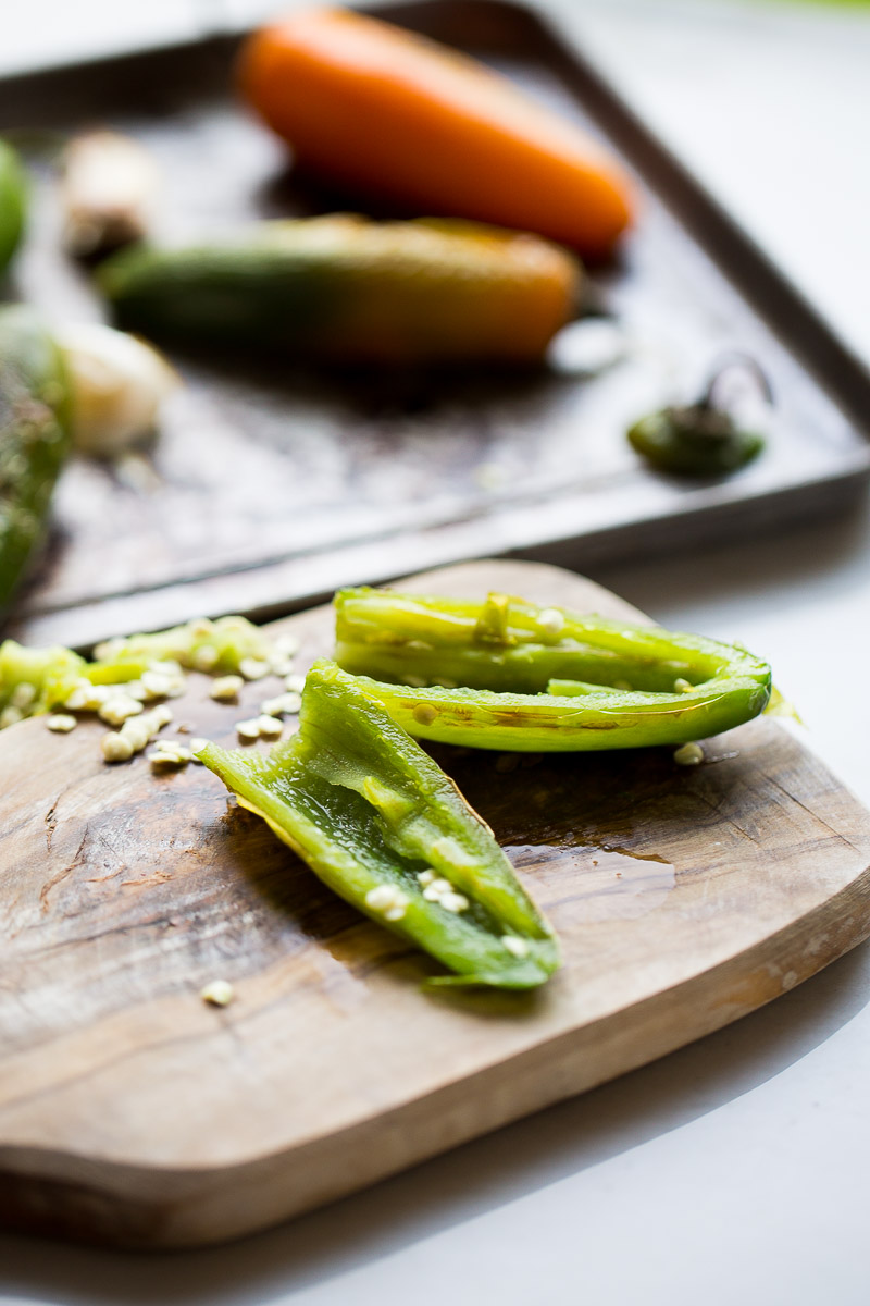 roasted jalapeño cut in half with veins and seeds removed