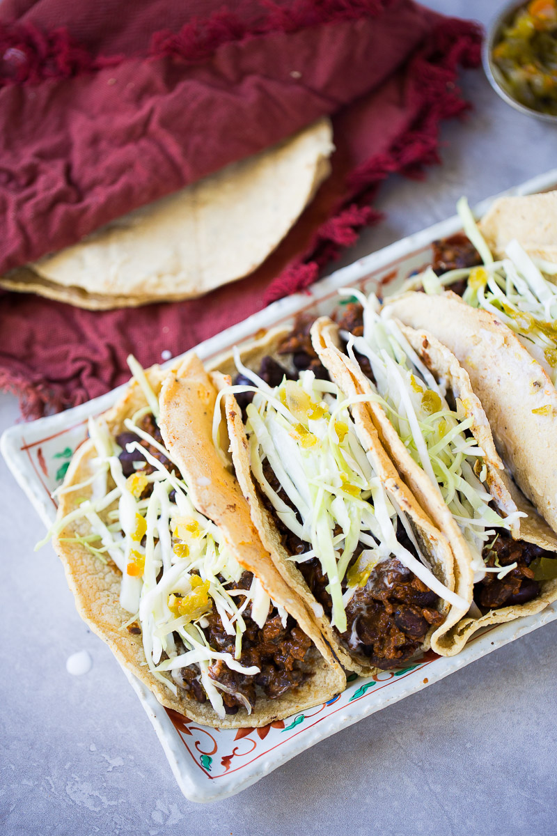 Vegan Mexican tacos recipe with corn tortillas and black beans with chorizo. The corn tortillas are from OneDegreeOrganics, and they are absolutely delicious.#ad