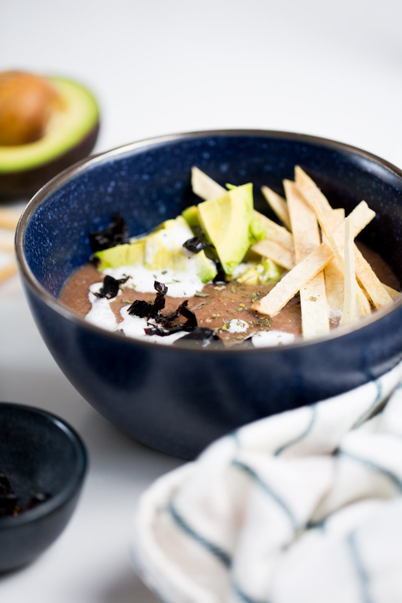 This black bean tomato soup is an authentic Mexican vegan recipe. This healthy soup is perfect for a cold winter night or when you have to cook in a hurry. #vegan, #healthyrecipe, #authenticmexicanfood