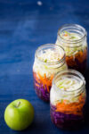 Rainbow salad with tahini dressing and granny smith apples