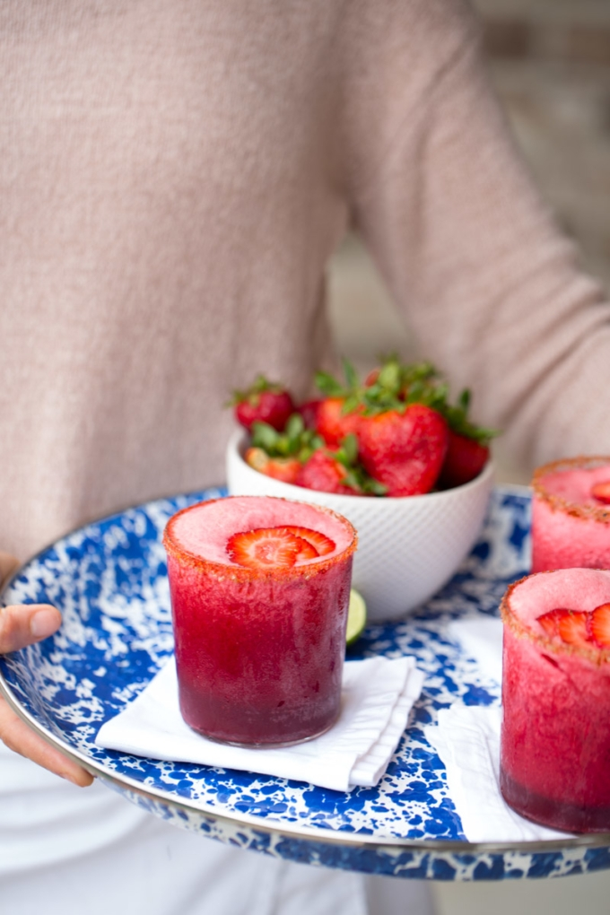 hibiscus and strawberry margaritas