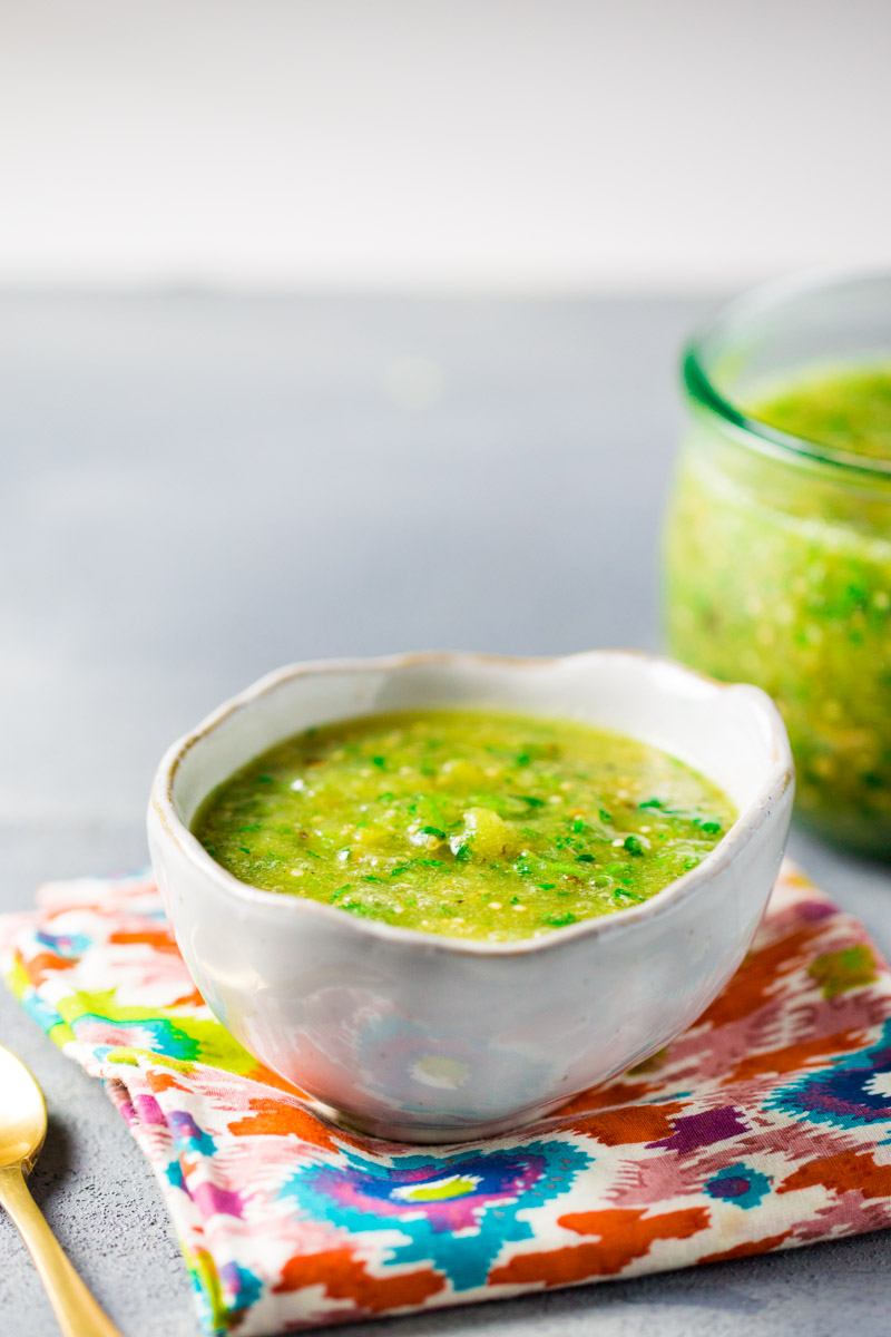 Salsa verde, authentic Mexican recipe filled with flavor and health benefits. It is so tasty you will wanna use it with everything.  #vegan, #veganrecipe, #authenticmexican, #salsaverde