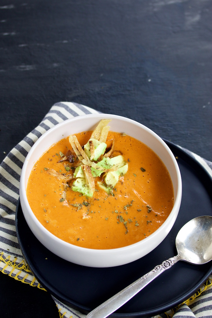 This recipe for creamy tomato soup with a hint of chile chipotle is the perfect  creamy, vegan, spicy, tomato soup.How do you like your tomato soup? #vegan, #easyveganrecipe,#vegansoup