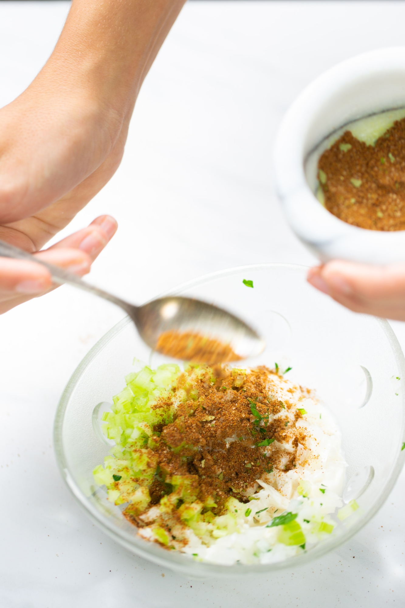 making special spices mayo with  celery, onion and spices
