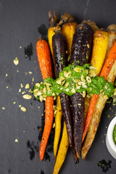 Roasted carrots with cilantro-pumpkin seed salsa