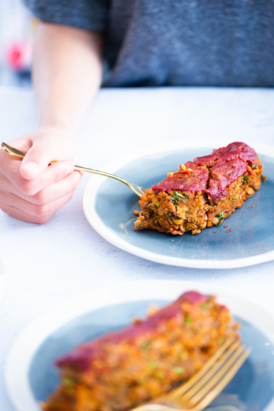 vegan Lentil loaf with tomato glaze
