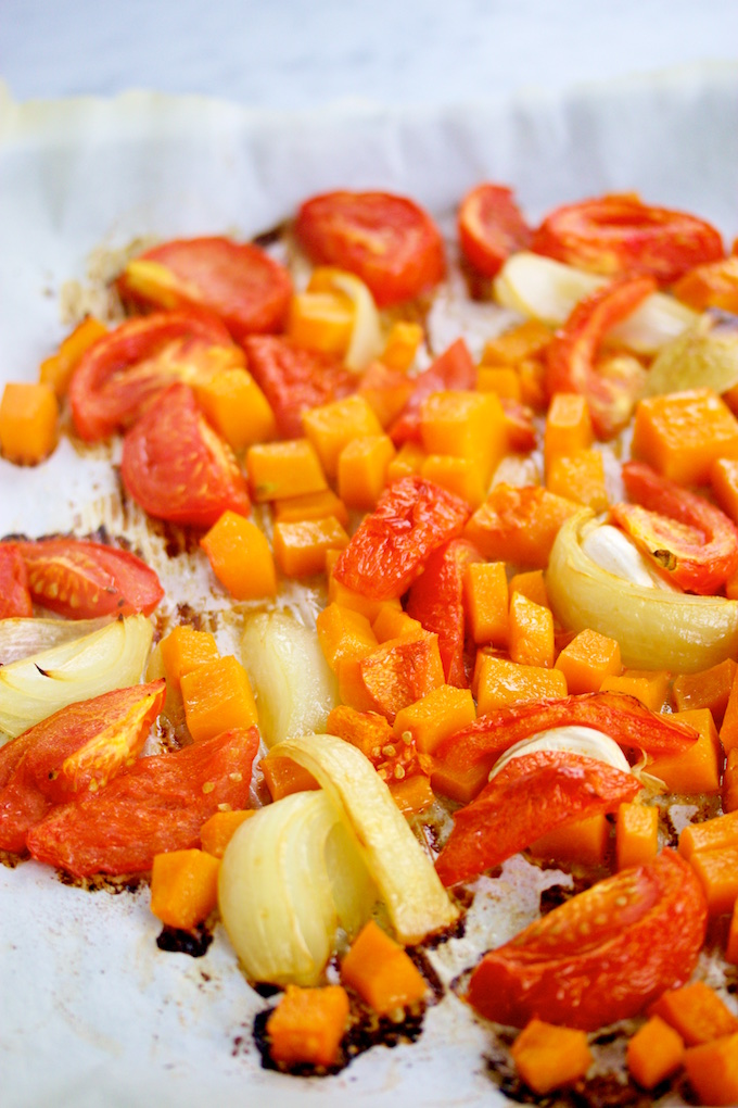 roasted tomatoes, butternut squash, and onions
