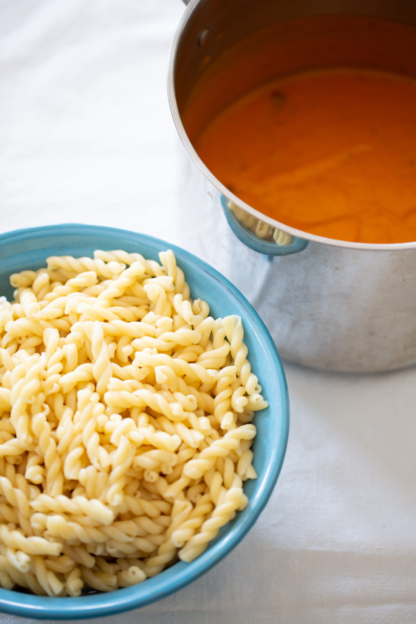 Buttternut squash and tomato sauce in a pot and cooked pasta on the side