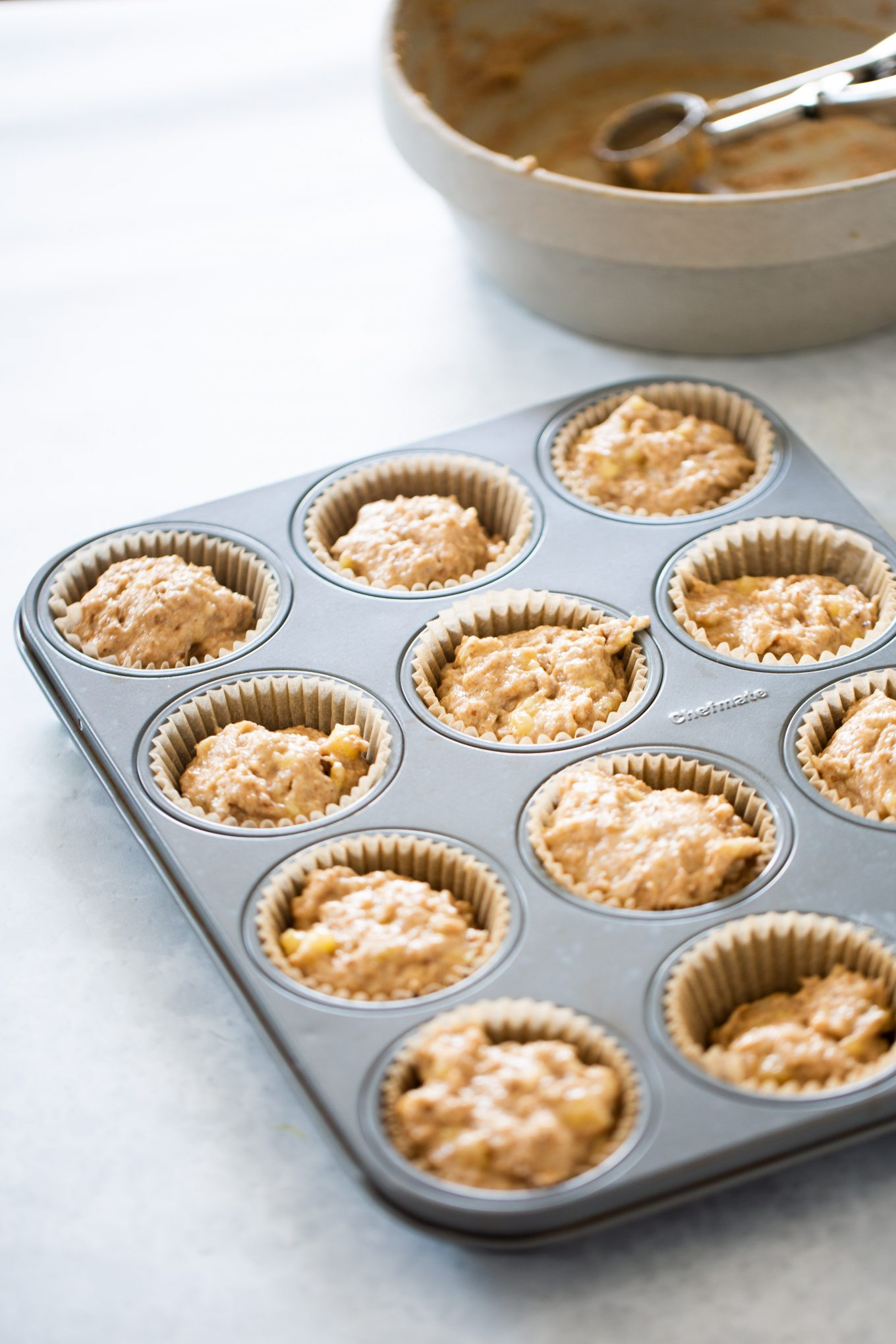 Banana muffins before being baked