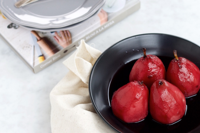 peached pears in red wine