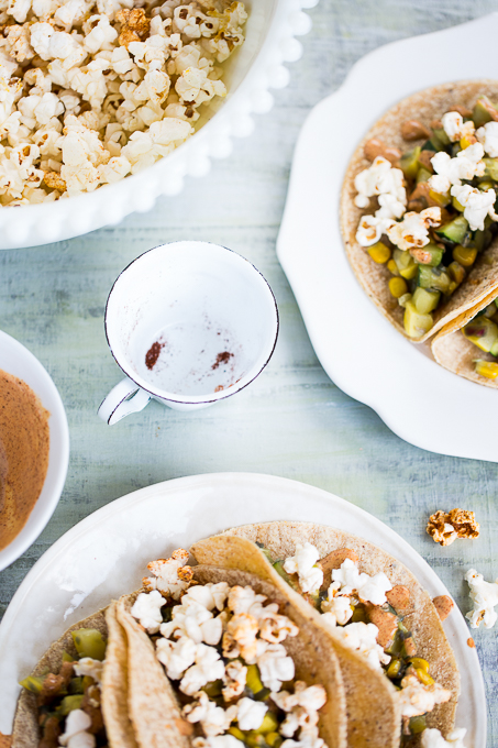 tacos with popcorn