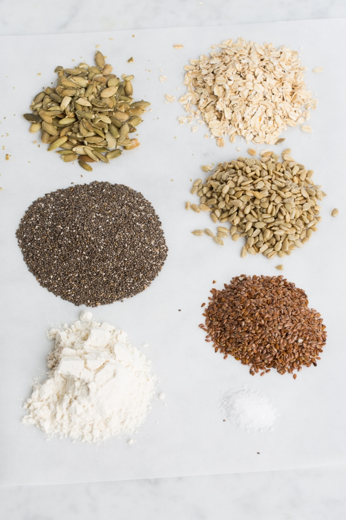 Ingredients of chia seed crackers. Bunch of seeds, flur and salt.