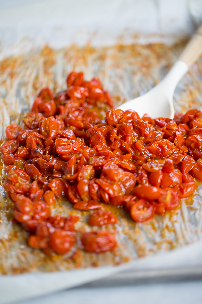 Toasted cherry tomatoes on a tray