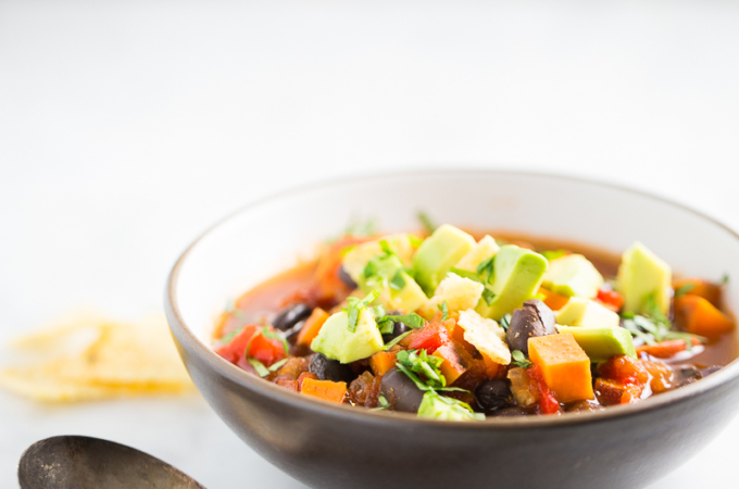 Healthy black bean and sweet potato chili