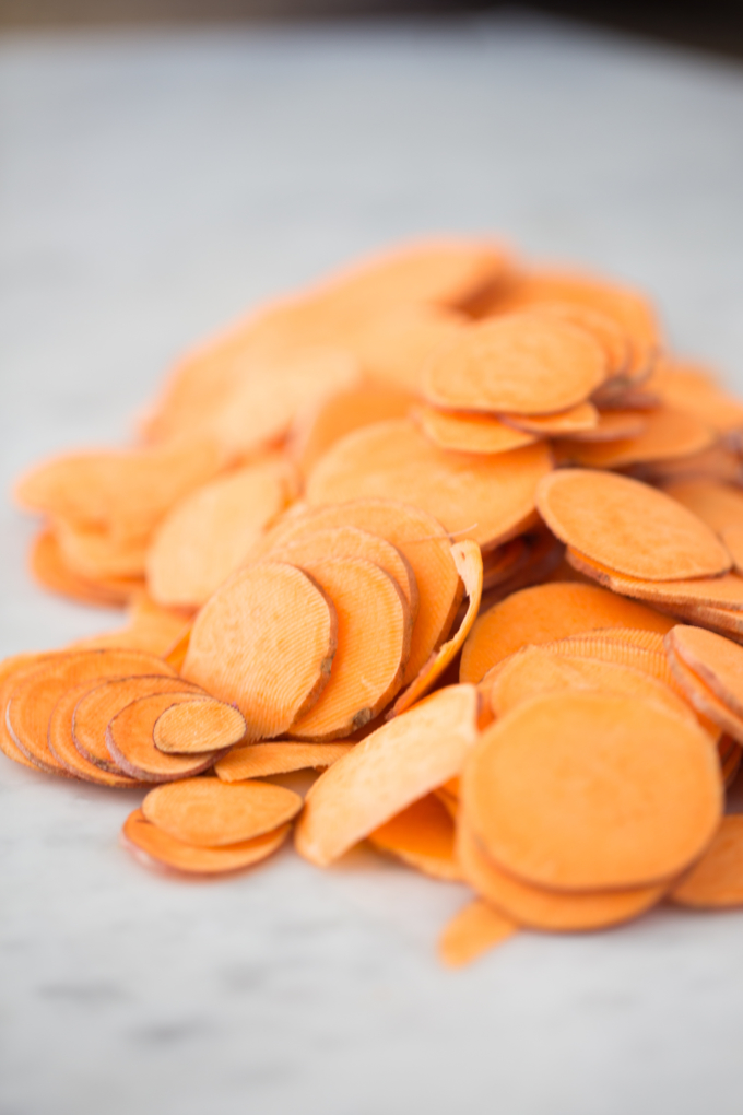 Thinly sliced sweet potatoes