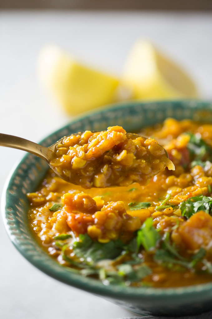 a spoonful of red lentil soup