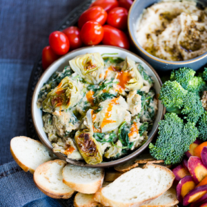 Vegan artichoke and kale dip recipe. Perfect party food.
