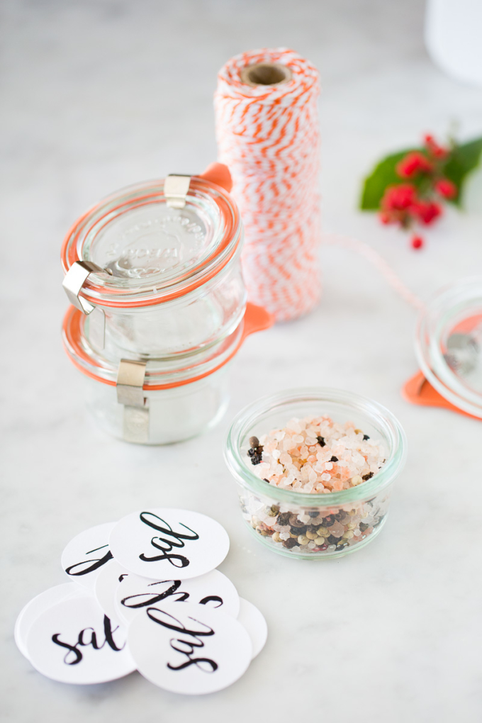 glass container with flavored salt