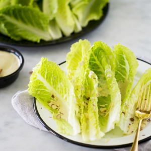Healthy vegan Caesar salad made in five minutes.