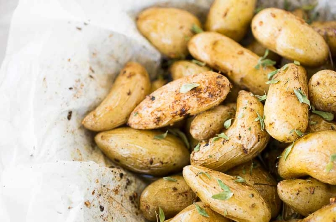 Amazing roasted fingerlings with za'atar and lemon