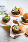 Crazy good black bean + mole burgers with grilled pineapple