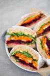 Vegetable sandwich with chipotle-hummus