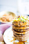 Corn pancakes with spicy coconut bacon