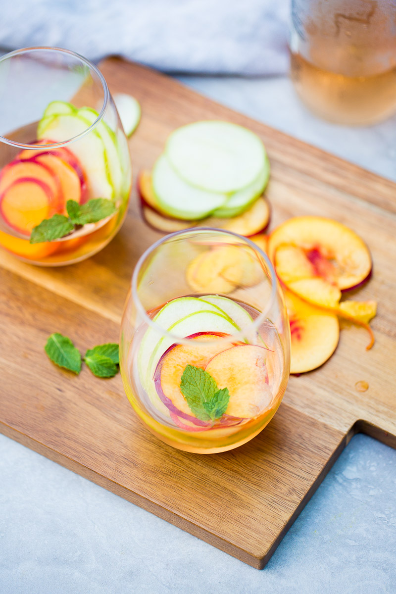 two glasses with summer sangria