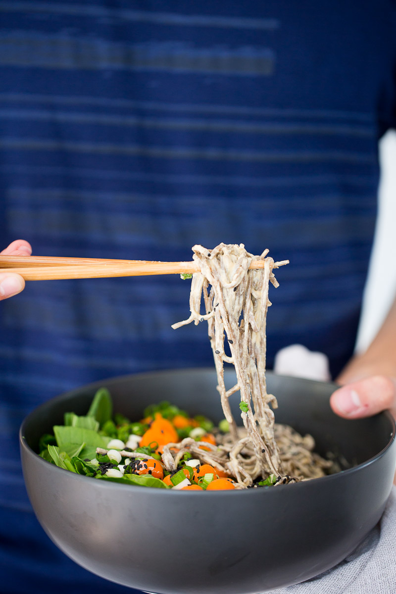 This recipe for vegan soba noodle recipe with an amazing 6 ingredient cashew sauce is amazing for a super fast lunch or to feed unexpected guests.