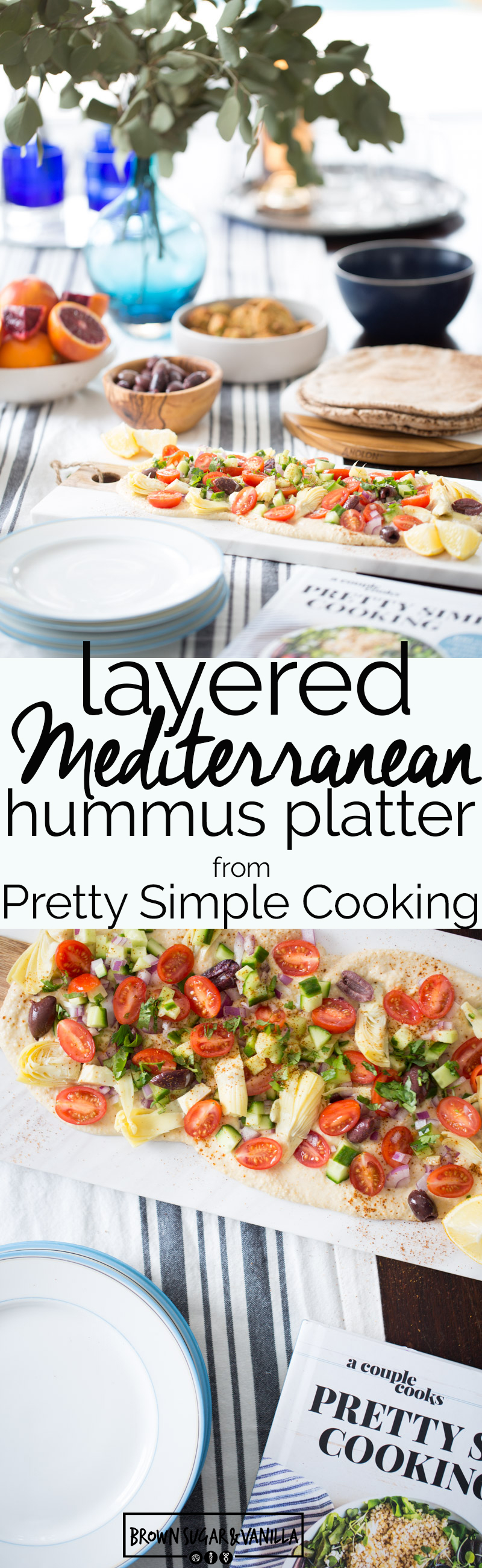 This recipe for Layered Mediterranean Hummus from Pretty Simple Cooking it is delicious and very easy to put together. It is a show stopper and crowd pleaser. #vegan, #healthy, #healthycooking