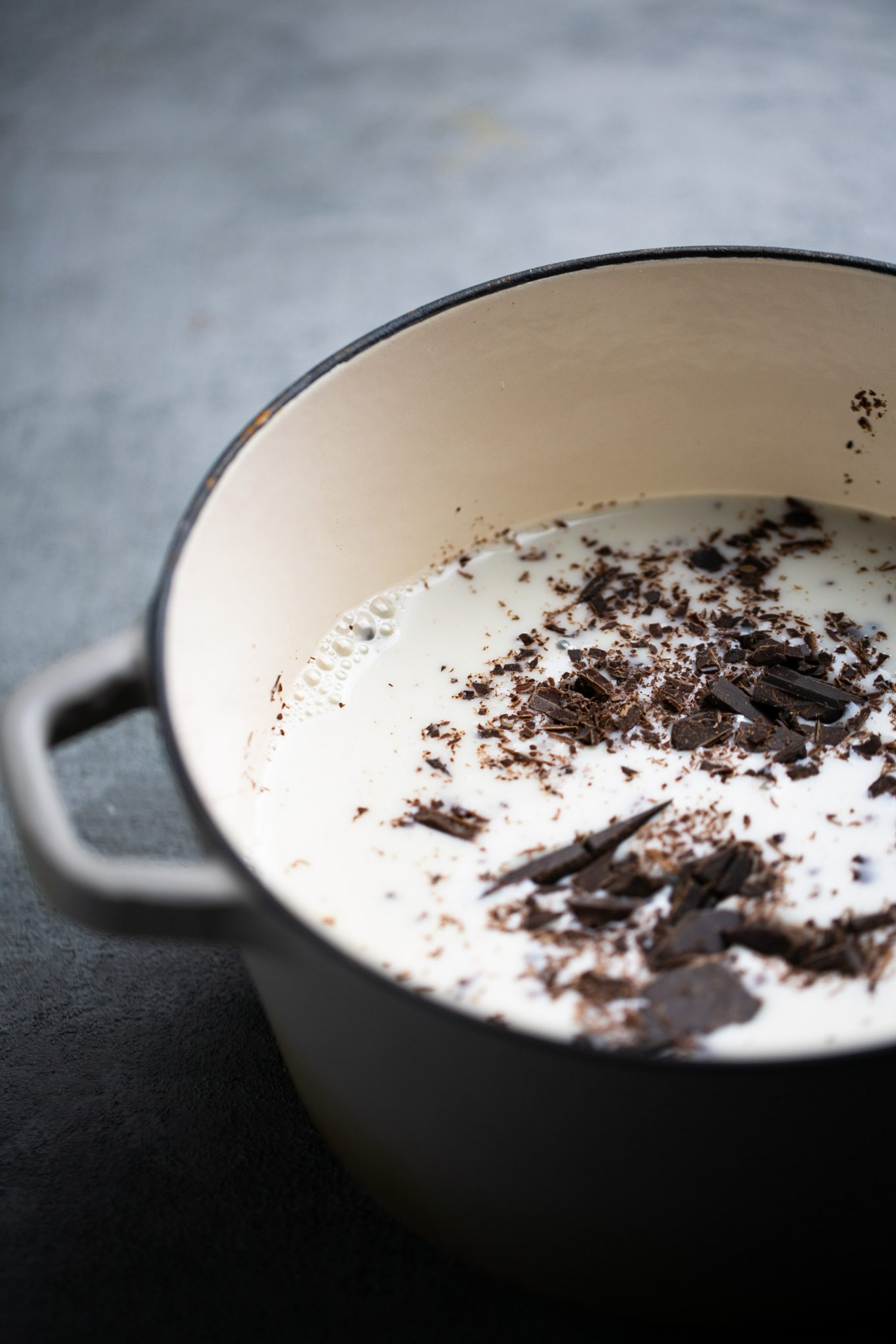 A pot with milk and chopped dark chocolate