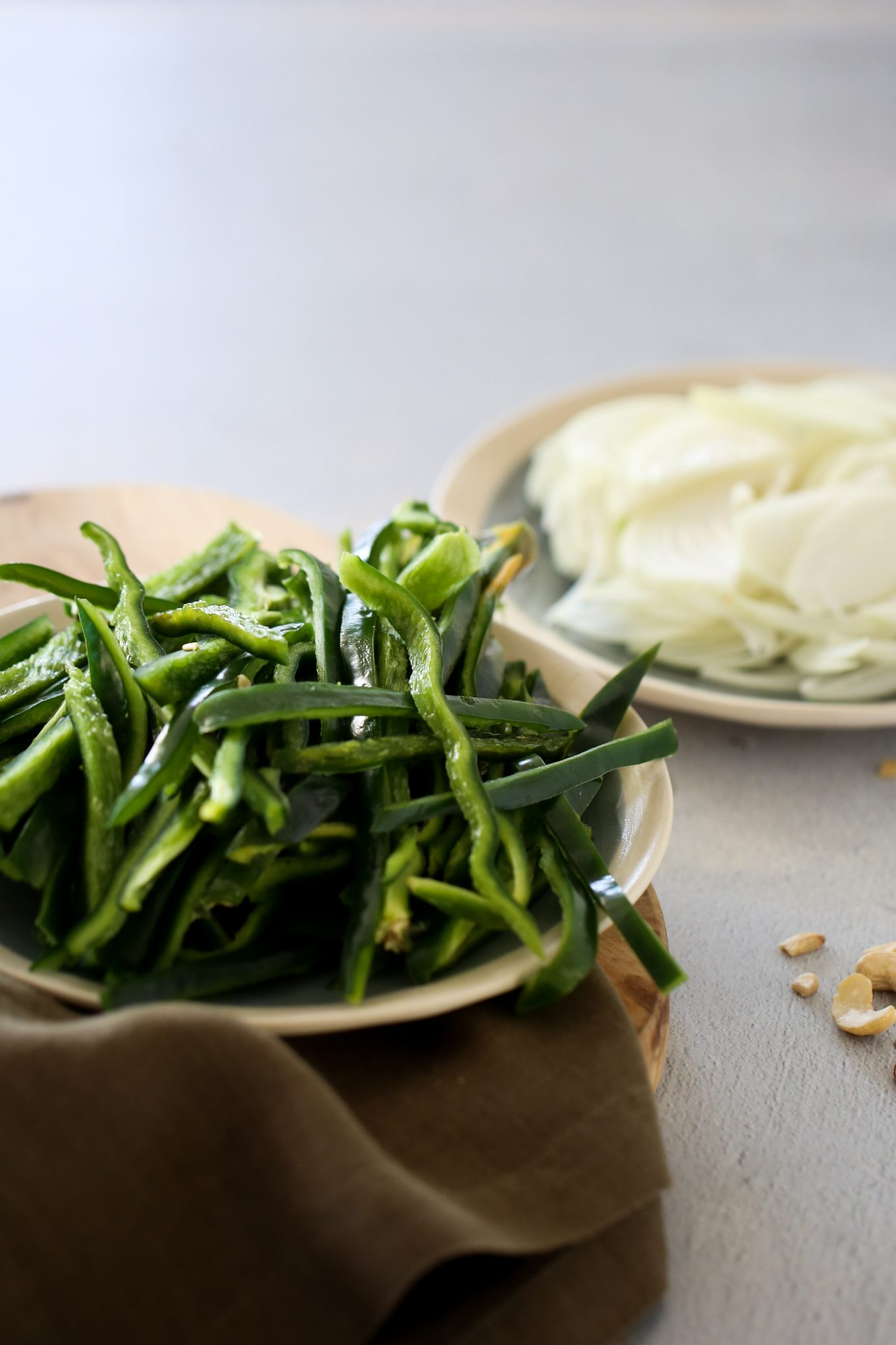 sliced onions and poblano peppers (rajas)