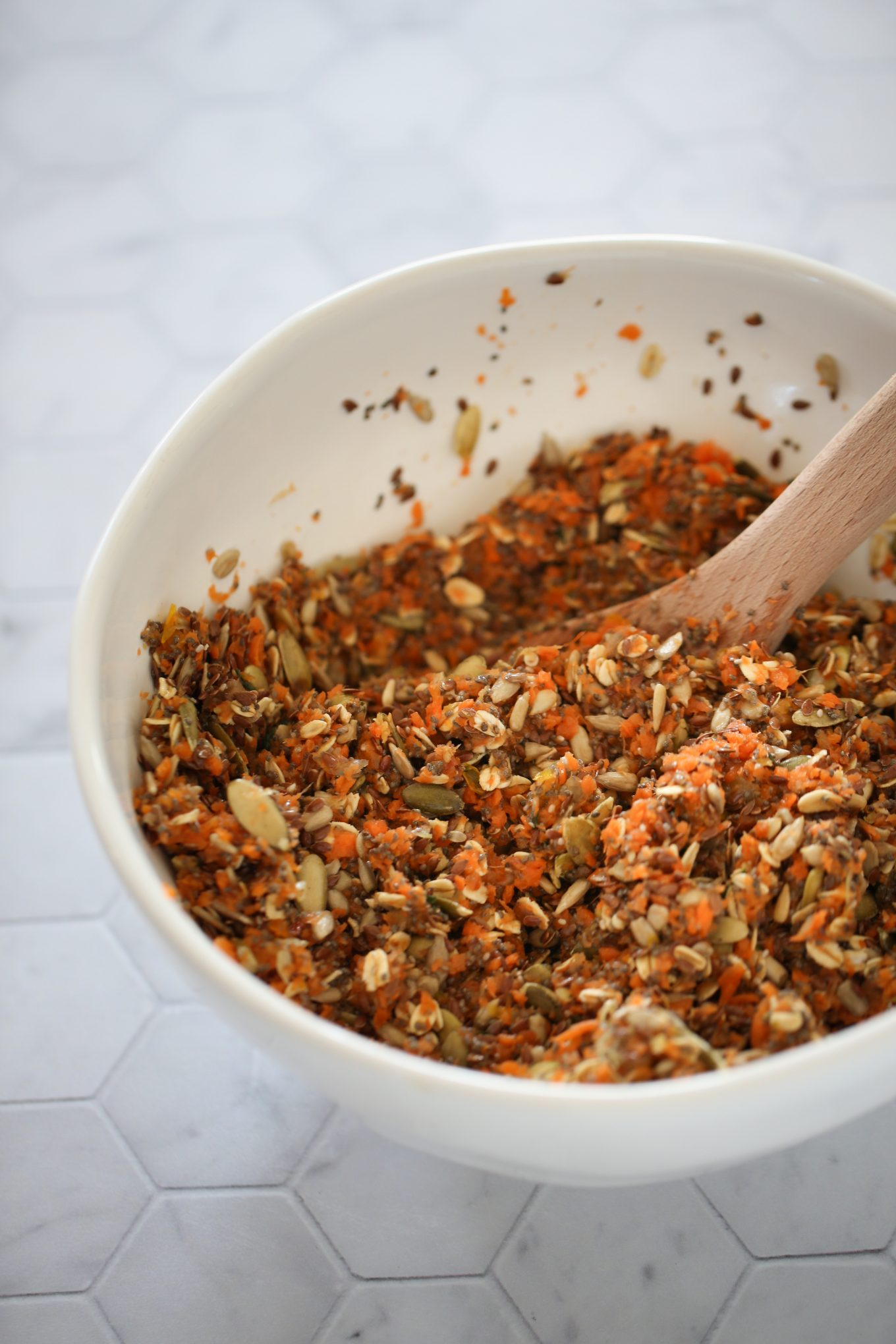 seeds and carrot juice pulp in a bowl